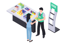 Sales promotional campaign at retailers, shop counter, create promotion tools